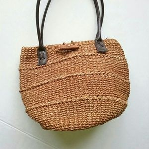 Vintage Bags - Sisal Woven Vintage Tote Brown Shoulder Bag Purse